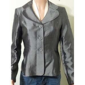 ANNE KLEIN Silver Pewter Silk Jacket Lace-Up Back